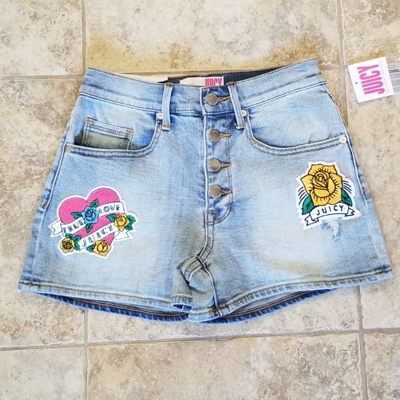 Juicy Couture Pants - NWT JUICY COUTURE FLOWER & HEART PATCH JEAN SHORTS